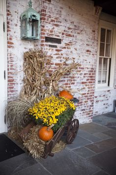 Fall Rustic Wedding Decorations..maybe this outside reception hall as you come in.
