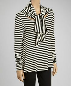Take a look at this Black & Ivory Stripe Swing Top & Scarf by A La Tzarina on #zulily today!