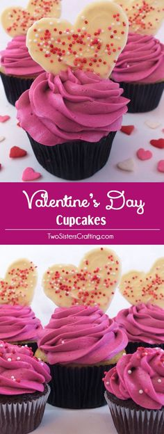 Our Valentine's Day Cupcakes are so easy to make - you'll just need a cupcake, buttercream frosting and some white chocolate to make this pretty Valentine's Day treat. Pin this pretty Valentines Day dessert for later and follow us for more fun Valentine's Day Food ideas.