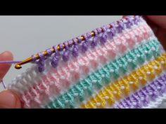 Crochet Stitches Patterns, Baby Knitting Patterns, Crochet Designs, Free Knitting, Tunisian Crochet, Knit Crochet, Different Crochet Stitches, Crochet Lace Edging, Crochet Videos