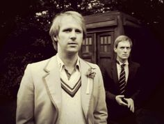 Doctor Who: The fifth Doctor ( Peter Davison) with his traveling companion Turlough ( Mark Strickson).