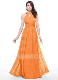 A-Line/Princess Scoop Neck Floor-Length Chiffon Bridesmaid Dress With Ruffle (007051137) - JJsHouse