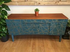 Retro sideboard in teal and gold geometric decoupage, teak oil to top and mixed colours of Frenchic paint to create a teal colour. Sealed with Frenchic Finishing Coat upcycled shabby chic rustic retro Gold Furniture, Decoupage Furniture, Colorful Furniture, Paint Furniture, Late Summer, Summer Nights, Retro Sideboard, Teak Oil, Drinks Cabinet