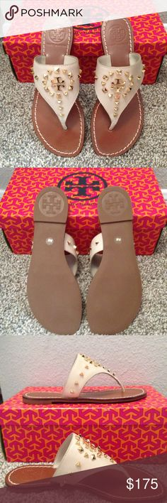 Dale Studded flat thong sandal - Tory Burch Women's flat thong sandal. Tan straps, with gold hardware, brown foot. NWT, never worn. Tory Burch Shoes Sandals