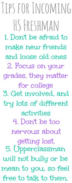 Tips for Incoming High School Freshman