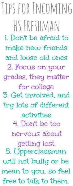 Tips for Incoming High School Freshman