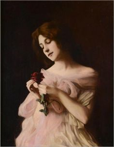 Girl with rose, Vlaho Bukovac. Czech (1855 - 1922)