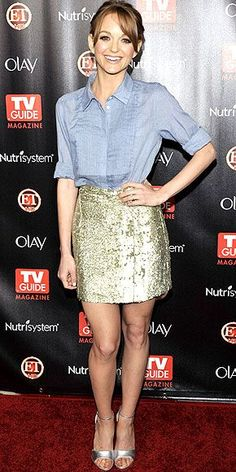 The Glee cutie plays with contrast, pairing a chambray button up with a glittering gold sequined skirt and silver sandals at the TV Guide Hot List party in Hollywood.