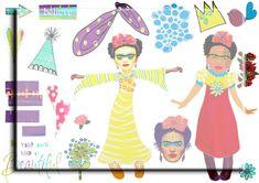 Digital collage sheet ...Frida Kahlo whimsical by Lilysart1