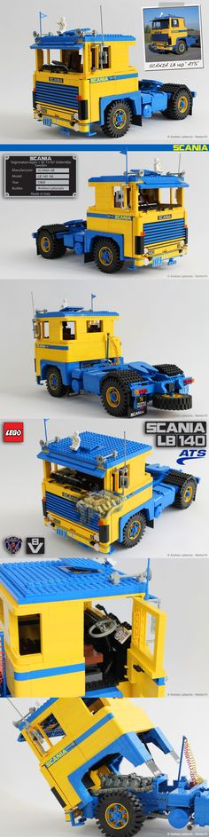 SCANIA LB 140 ATS - Here the fifth model of my 1:13 LEGO model truck series. It's the famous SCANIA LB 140, launched in 1969 by the Swedish manufacturer during the Frankfurt Truck Exhibition. Under the cab it has the great V8 engine with 352 HP. This great 140 was registered in Italy on 24th may 1976 and it has been restored in 2010 by the owner of ATS (a northern Italy transport company).