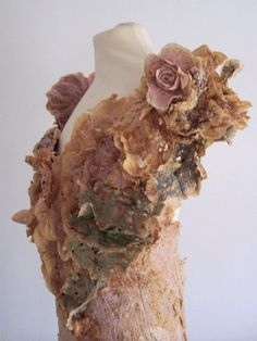Recycled Dress Art from a collection of dresses made with drink-dyed, used teabags; alternative materials // Grace Robinson
