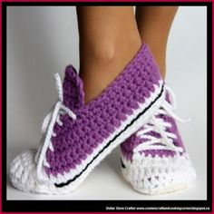 Dollar Store Crafter: Crochet 'Running Shoes' Slippers (FREE PATTERN)