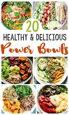20 EASY Healthy Power Bowls- EASY clean eating recipes Healthy power bowl recipes to get you through your day! Easy clean eating recipes -full of antioxidants, vitamins and other BENEFITS – raw food diet Easy Clean Eating Recipes, Clean Eating Diet, Raw Food Recipes, Easy Meals, High Protein Vegetarian Recipes, Clean Eating Lunches, Diet Salad Recipes, Clean Meals, Eating Raw