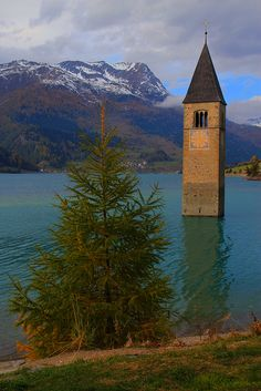 visitheworld: The bell tower at Lago di Resia, South Tyrol / Italy (by Eifeelgood).