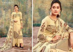 radhika azara izna catalogue cotton prints dress materials collection wholesale surat - Wholesaleyug Salwar Kameez, Salwar Suits, Fashion Catalogue, Skirt Suit, Print Design, Kimono Top, Product Launch, Chiffon, Gowns
