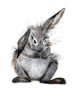 Bunny Watercolor print, Rabbit Watercolor print, Easter decor, Easter printable wall art, Nursery art, Woodland animals, Baby animal prints