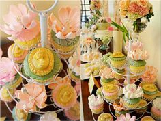 Vera's Peach and Green themed party - Cupcakes Party Cupcakes, Peach And Green, 1st Birthday Parties, Party Themes, Bridal Shower, Shabby Chic, Table Decorations, Simple, Fun