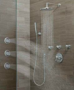 Rozin thermostatic waterfall rain shower faucet valve mixer massage jets hand shower for Second hand bathroom fixtures