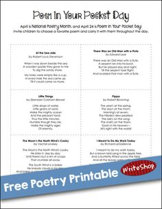 Free printable with 9 delightful, kid-friendly poems to tuck into pockets {or memorize}. Perfect for Poem in Your Pocket Day - April 24, 2014