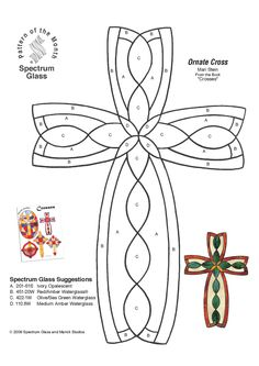 Stained Glass Spectrum Pattern Cross - Shrinky Dink keychain craft