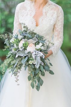 Hand-Tied Bouquet with Greenery and Garden Roses | Brides.com