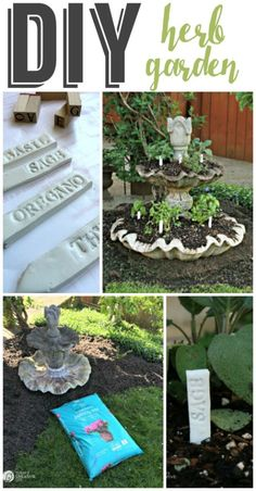 Planting an Herb Garden | Create a unique herb garden using an old fountain and eco scraps potting soil. Make your own DIY garden stakes from polymer clay for an easy craft. Tutorial on TodaysCreativeLife.com  Sponsored by EcoScraps