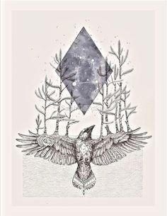 """Corvus""  geometric raven art print www.NestandBurrow.etsy.com"