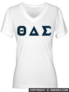 Sorority Fine Jersey V-neck with Sewn-On Letters