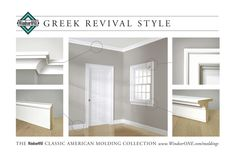 Historically accurate moldings, from the WindsorONE Molding Catalog. Floor to ceiling room of Greek Revival style. Moldings designed by Brent Hull. #moldings #greek #GreekRevival
