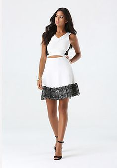 bebe Lace Hem Sweater Skirt