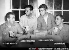 Coast Guard members Bernard Webber, Andy Fitzgerald, Richard Livesey and Ervin Maske, whose story is told in The Finest Hours movie starring Chris Pine. Read 'The Finest Hours: History vs. Hollywood' at: http://www.historyvshollywood.com/reelfaces/finest-hours/