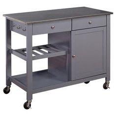 Superieur Columbus Kitchen Cart With Stainless Steel Top Gray   TMS : Target