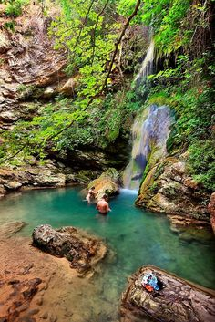 "Fonissa (or ""Neraida"") waterfall, very close to Mylopotamos village in Kythira, Attiki, Attica_ Greece Attica Greece, Places In Greece, Largest Waterfall, Small Lake, Greece Travel, Greece Trip, Sea Waves, Turquoise Water, Greek Islands"