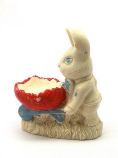 Vintage Salt Cast Rabbit Bunny Figurine 1940's by SmallFavorites