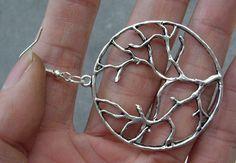 tree  earrings-antique silver