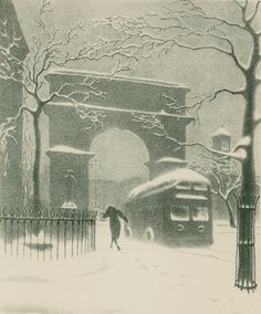 Ellison Hoover, 1888-1955.  Washington Arch in Snow (with traveler and bus), c. 1930.  Lithograph.