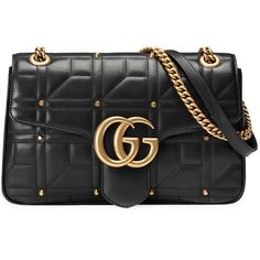 Gucci GG Marmont Matelass?(C) Shoulder Bag (7.830 BRL) ❤ liked on Polyvore featuring bags, handbags, shoulder bags, studded leather handbags, leather purse, shoulder hand bags, studded purse and gucci handbags
