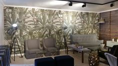 San La Meer on the South Coast features our Tropical leaf design by Franco Moss, thanks to our agents SKEP. A N Wallpaper, Summer Paradise, Tropical Leaves, Leaf Design, Coast, San, Modern, Table, Furniture