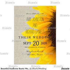 Beautiful Sunflower Rustic Wedding Invitation