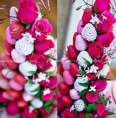Chocolate Covered Strawberry Tower From Chocolate Dipped Strawberries, Pink Chocolate, Chocolate Bouquet, Chocolate Treats, Strawberry Tower, White Strawberry, Valentines Baking, Fruit Creations, Edible Arrangements