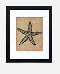 Burlap art, Starfish art, Nautical art, Burlap print, Frame included