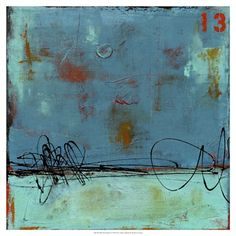 Blue Bay Marina I Abstract Canvas Wall Art Print by Erin Ashley