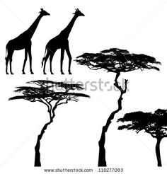 African animals, giraffe, vector silhouettes - stock vector
