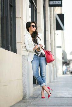 Стильно, джинсы, красный