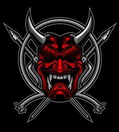 Tattoo Samples, Shadow Warrior, Warrior 3, Samurai Artwork, Team Logo Design, Japan Illustration, Satanic Art, Traditional Japanese Art, Skull Logo