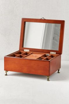 fb487600482 Kinsley Wooden Footed Jewelry Box from Urban Outfitters Vanity Decor