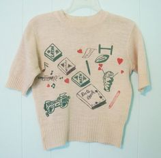 Vintage RARE Printed Collegic Sweater  Hearts by Aquanetta, $250.00