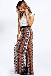Masie Printed Side Split Maxi Skirt