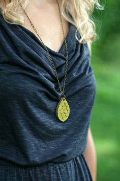 Scalloped Teardrop Necklace Bright Pear by NSPottery on Etsy