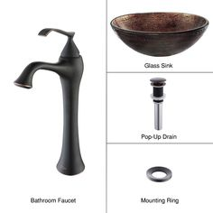 Copper Illusion Glass Vessel Sink and Ventus Faucet Oil Rubbed Bronze